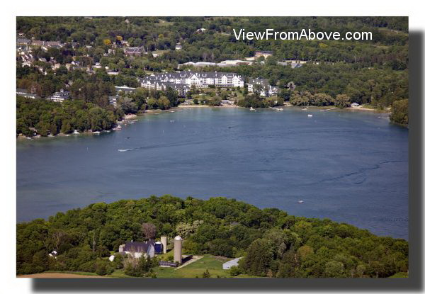 Elkhart Lake with Osthoff Resort in the background.